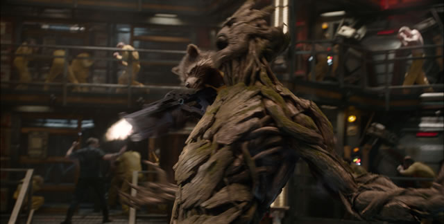 Marvel's Guardians Of The Galaxy..L to R: Rocket Racoon (voiced by Bradley Cooper) & Groot (voiced by Vin Diesel)..Ph: Film Frame..©Marvel 2014