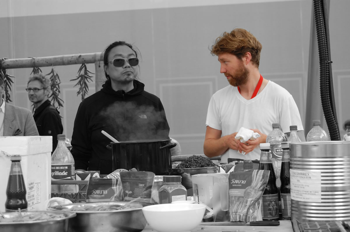 The culinary originality of Felix Bröcker seen here with Rirkrit Tiravanija at Art Basel 2015 - image credit Tobias Roth