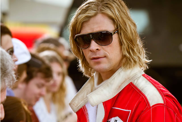 Chris Hemsworth entertains as James Hunt in the movie Rush**