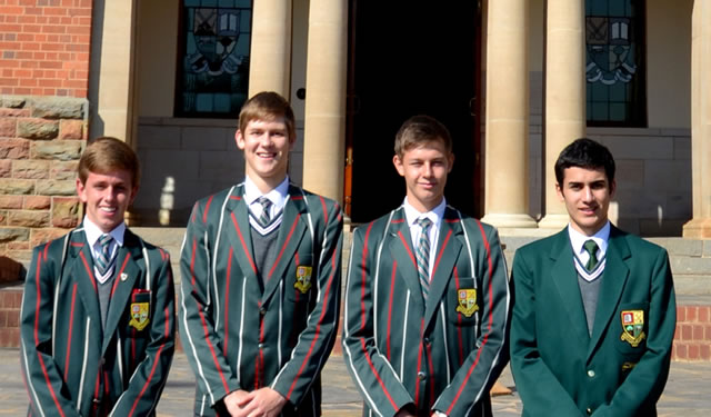 "Pretoria Boys High School team ""Young Guns"", from left to right: Allan Goldacre, Stefan van Wyk, Geor Schulze and George Ioannou. Photo by by Seth Gaunt (Pretoria Boys High School Grade 11/Form IV pupil)."