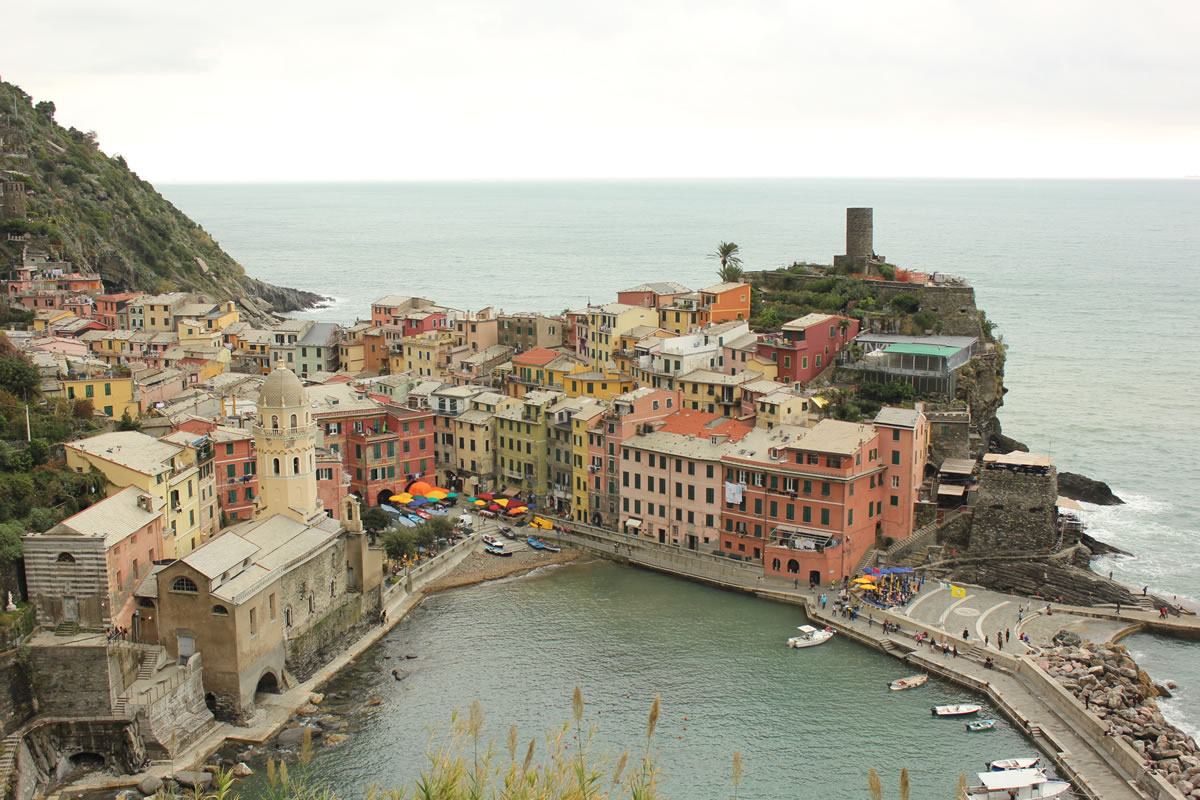 View of the Vernazza village taken from the Cinque Terre trail - image credit BilbyandBear